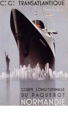 Transatlantic Service - SS Normandie - French Line - Vintage Travel Poster Tourism Poster, Poster Ads, Advertising Poster, Travel Ads, Travel And Tourism, Art Deco Posters, Vintage Travel Posters, Vintage Advertisements, Vintage Ads