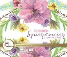 Watercolor Floral Wedding Elements, Clipart, PNG, Vintage Flowers, Frames,  spring, Rustic, arrangement, posies, bouquet, for invitations