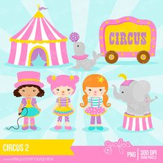 CIRCUS 2 Digital Clipart,  Circus Clipart, Clown Clipart  / Instant Download