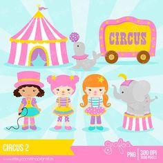 CIRCUS 2 Digital Clipart,  Circus Clipart, Clown Clipart  / Instant Download