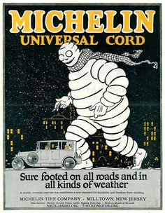 Bibendum – The Larger Than Life Michelin Man: See six fine posters today from the collection of the AACA Library and read the interesting story of the Bibendum and the Michelin tire company in a article written by Matthew Hocker today at: http://theoldmotor.com/?p=124617