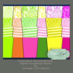 Funky Neon Digital Scrapbook Papers BIG Bundle $12.50 #thecraftstar #digitalneonscrapbookpaperpack #digital #paper #scrapbook #neon