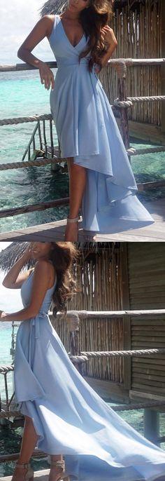 Light Blue dresses, Cheap Dresses Online, Long Evening Dresses, Cheap Evening Dresses, Cheap Long Dresses, Long Blue dresses, A-line/Princess Evening Dresses, Light Blue Evening Dresses, Long Light Blue Evening Dresses With Sashes Asymmetrical V-Neck Sale Online