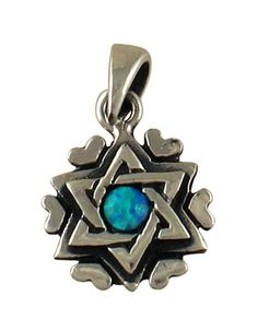 Silver and Opal Star of David Heart Pendant #JewishJewelry #Necklace ajudaica.com
