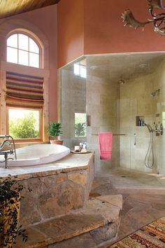 Home Design Ideas, Marvellous River House Cabin Bathroom: Cozy River Ranch with Mountains Surroundings