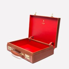 Ettinger London - Luxury Leather Goods - Heritage St James Lid-Over Attaché Case in Hazelnut and red skiver lining