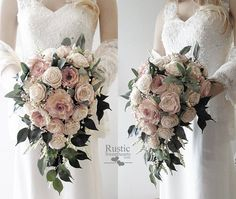 Cottage Rose Sola Flower Bridal Cluster Cascade Bouquet ~ Colors: Cameo / Light Dusty Rose & Ivory ~ Sola Flower Bouquet, Sola Wood Bouquet - All About Cascading Wedding Bouquets, Cascade Bouquet, Wedding Flower Arrangements, Flower Bouquets, Purple Bouquets, Bridesmaid Bouquets, Peonies Bouquet, Floral Arrangements, Wood Flower Bouquet