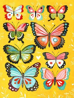 Butterflies by Katie Daisy Painting Print on Wrapped Canvas in Yellow