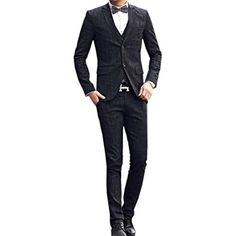 MOKEWEN Men's Plaids Dinner Two Button Three Piece Suit Set US Large