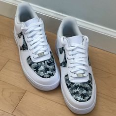 """The Alyssa"" Grey Camo Nike AF1 by djzodesigns Cute Nike Shoes, Cute Nikes, Nike Air Shoes, Sneakers Nike, Air Force One Shoes, Nike Air Force, How To Paint Camo, Camo Shoes, Custom Painted Shoes"