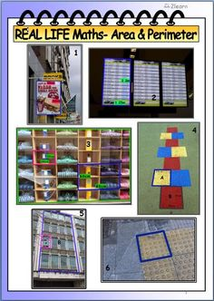 Bright colourful Math WORKSHEET incorporating real life photographs to measure AREA & PERIMETER. This format has proven very effective at encouraging students to make connections, stimulate and interest them to work collaboratively or individually. Real Life Math, Maths Area, Geometry Worksheets, Area And Perimeter, Secondary Math, Teaching Methods, Mathematics, Teaching Resources, Photographs