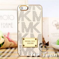 beige pu leather + black MK. Shiny Michael kors phone case