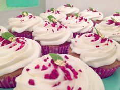 Raspberry, lychee & basil cupcakes..with a little gold leaf to garnish!