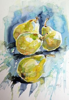 Pears, Painting by Kovács Anna Brigitta | Artfinder. Painting, Paper One of a kind artwork. Size: 26 × 37.5 × 0.1 cm (unframed) / 26 × 37.5 cm (actual image size). This artwork is sold unframed. Signed on the front. https://www.artfinder.com/product/pears-1915/