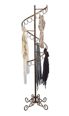 Boutique Cobblestone Spiral Scarf Display Rack with 3 Inch D 27 Scarf rings Scarf Rack, Scarf Holder, Scarf Display, Scarf Storage, Scarf Organization, Dressing Room Closet, Craft Show Displays, Store Displays, Clothing Storage