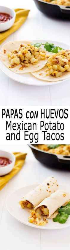 Papas con Huevos is Spanish for potatoes with eggs. Abuela's recipes for the best breakfast tacos!   Kitchen Gidget