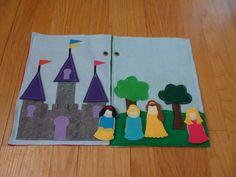 Princess castle quiet book, felt book with princess finger puppets on Etsy, $22.00