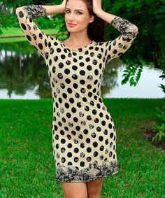 Look what I found on #zulily! Cream & Black Dot Three-Quarter Sleeve Dress #zulilyfinds