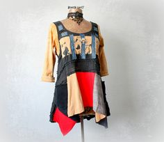 Frayed Denim Women's Tunic Tattered Gypsy Top Art To Wear Clothes Rustic Draped Shirt Up Cycled Clothing Peasant Top Sugar Skull M 'CLAUDIA'