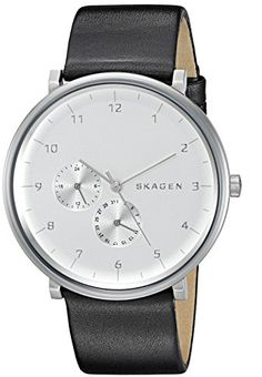 Skagen Men's 'Hald' Quartz Stainless Steel and Leather Automatic Watch, Color:Black (Model: SKW6248)
