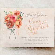 Floral Bridal Shower Invitation - Rustic bridal shower invitation, orange bridal shower invitation