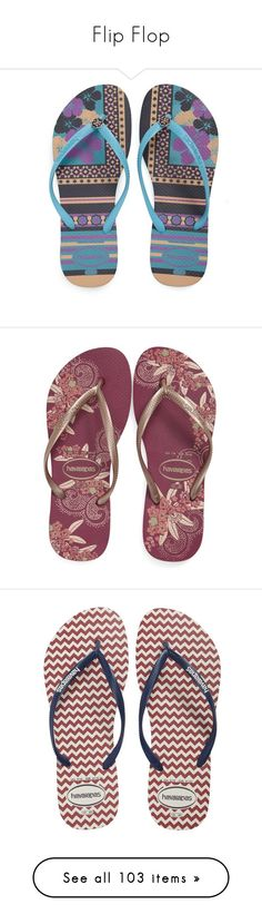 """""""Flip Flop"""" by tasha1973 ❤ liked on Polyvore featuring shoes, sandals, flip flops, golden shoes, havaianas, print shoes, rubber shoes, slim shoes, floral shoes and strappy flip flops"""