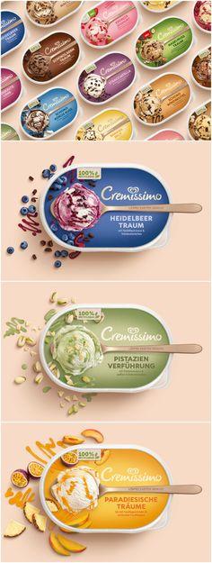 Cremissimo Packaging Relaunch - World Brand Design Yogurt Packaging, Ice Cream Packaging, Beer Packaging, Food Packaging Design, Cookie Packaging, Brand Packaging, Packaging Design Inspiration, Branding Design, Branding Ideas