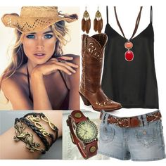 """""""Cowgirl outfit summer shirts tank brown"""" by laura-blakney on Polyvore leather jewelry watch love birds infinity bracelets pendant feather earrings cowgirl hat boots black tank belt"""
