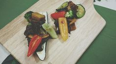 Orange sauce marinated beef , and grilled vegetables