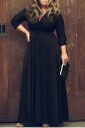 Sexy Plunging Neckline 3/4 Sleeve Solid Color Plus Size Dress For Women (BLACK,3XL) | Sammydress.com Mobile