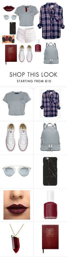 """""""BTS Style"""" by itsellad ❤ liked on Polyvore featuring New Look, Rails, Converse, MICHAEL Michael Kors, Christian Dior, LASplash, Essie, Kenneth Jay Lane and Sloane Stationery"""