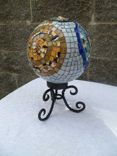 Gazing ball for garden w/ stand by Mosaicsmadewithlove on Etsy, $95.00