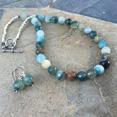 Blue Agate Necklace and Earrings Set with Sterling Silver