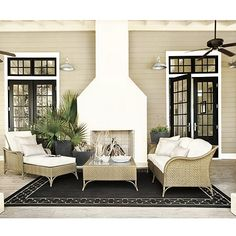Suzanne Kasler Quatrefoil Border Indoor/Outdoor Rug - Outdoor Rugs - Ideas of Outdoor Rugs - Love the white outdoor fireplace and the house color Indoor Outdoor Fireplaces, Indoor Outdoor Rugs, Outdoor Rooms, Outdoor Living, Outdoor Patios, Outdoor Kitchens, Outdoor Seating, Black French Doors, Black Doors