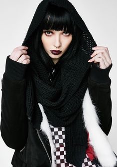 Killstar Helsinki Hood Scarf when you need a scarf big enough to hide from ya haterz. Stay wrapped up with this knit scarf that has a sikk hood.  #dollskill #killstar #mercy #goth #gothfashion #emonite