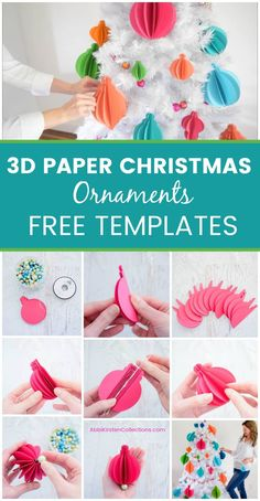 Free paper Christmas ornament 3D templates. Christmas SVG cut files and printables | Abbi Kirsten Collections#papercrafts #cricut #svg
