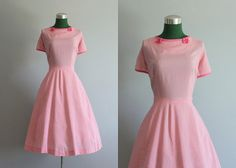 Vintage Dress / 1950s Dress / 50s Pink Check Full by HolliePoint, $58.00