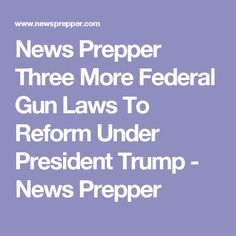 News Prepper  Three More Federal Gun Laws To Reform Under President Trump - News Prepper