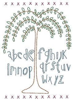 Willow Tree Alphabet Primitive Sampler Machine Embroidery Design 5x7 by HSEmbroidery on Etsy