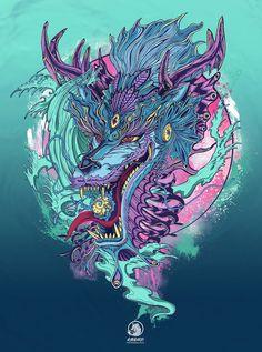 Pray for Japan 311- Aqua Dragon on Adweek Talent Gallery Respect powerful nature, the Aqua dragon roaring, to represent destruction and rebirth of Japan spirit.