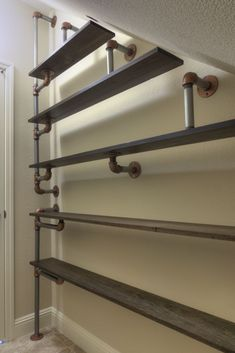 Inspiration for laudry room shelves: Iron Pipe Shoe Rack Regal Industrial, Industrial House, Industrial Pipe, Industrial Storage, Vintage Industrial, Stair Storage, Shoe Storage, Storage Ideas, Garage Storage