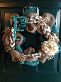 Burlap Wreath - good for any season - any accent color you like!