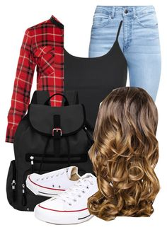 """""""outfit for school"""" by haileyhoksbergen on Polyvore featuring H&M, Topshop, Vince, Sherpani, Converse and Lipsy"""