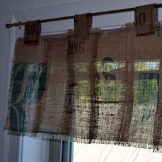 Coffee Sack curtain - strips of a sack instead of a solid sack.