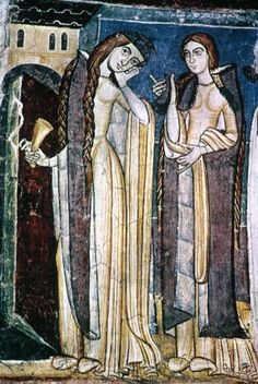 """""""The Foolish Virgins""""  13th century  A tightly fitted Bliaud, with long hanging sleeves"""