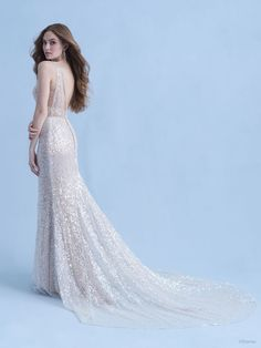 This Ariel-inspired gown is playful, yet elegant. A subtle flared train is reminiscent of a mermaid's silhouette, while sparkling sequins mimic the play of light across the moonlit sea. Disney Inspired Wedding Dresses, Stunning Wedding Dresses, Wedding Dress Sizes, Designer Wedding Dresses, Bridal Gowns, Wedding Gowns, Ariel Dress, Fantasy Gowns, Sequin Fabric