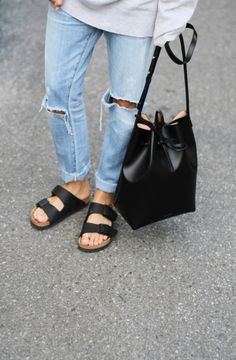 Bucket bag & Birkenstocks.