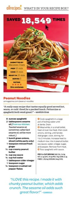 Peanut Noodles, AllRecipes magazine, Sept. 2014 issue.