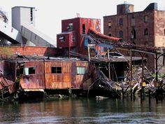 Industrial waterfront, Red Hook, Brooklyn, New York City.