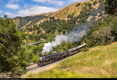 Southern Pacific P8, NO. 2472, with a Memorial Day Excursion on the Niles Canyon Railway, rolls thru the heart of Niles Canyon.